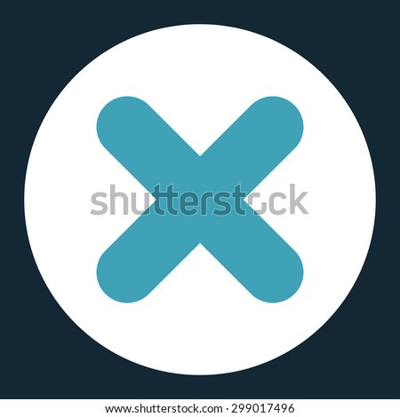 Cancel icon from Primitive Round Buttons OverColor Set. This round flat button is drawn with blue and white colors on a dark blue background. - stock vector