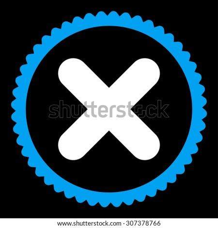 Cancel round stamp icon. This flat vector symbol is drawn with blue and white colors on a black background. - stock vector