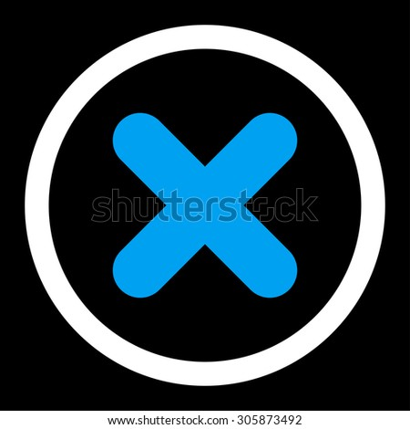 Cancel vector icon. This rounded flat symbol is drawn with blue and white colors on a black background. - stock vector