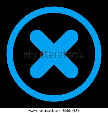Cancel vector icon. This rounded flat symbol is drawn with blue color on a black background. - stock vector