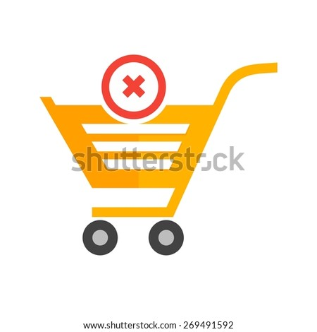 Cancelled, crossed, cart, trolley icon vector image. Can also be used for eCommerce, shopping, business. Suitable for web apps, mobile apps and print media. - stock vector