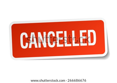 cancelled red square sticker isolated on white - stock vector