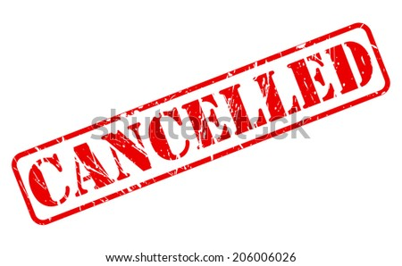 Cancelled red stamp text on white - stock vector