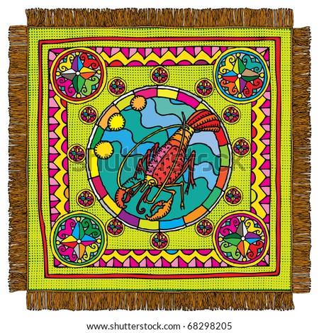cancer horoscope sign carpet - stock vector