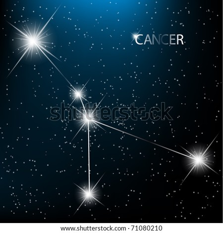 Cancer vector Zodiac sign bright stars in cosmos. - stock vector