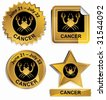 Cancer Zodiac Set : Gold satin buttons with name and date. - stock vector