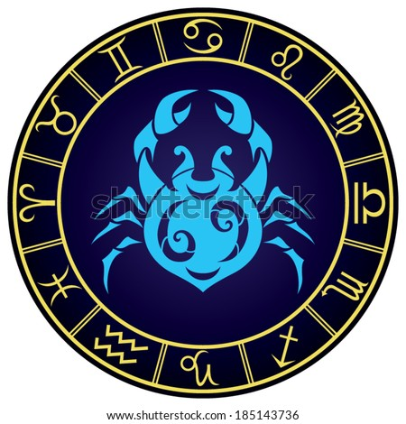Cancer zodiac sign in the golden frame. Vector Illustration