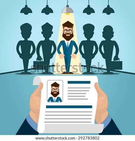 Candidate Job Position, Curriculum. Hands Hold CV Profile Choose from Group of Business People to Hire Interview Vector Illustration - stock vector