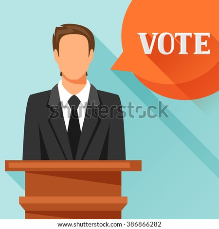 Candidate of party involved in debate. Political elections illustration for web sites, banners and flayers. - stock vector