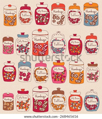 Candies in glass jars. Seamless pattern.