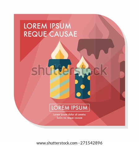 Candle flat icon with long shadow,eps10 - stock vector