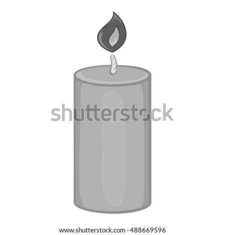 Candle icon in black monochrome style isolated on white background. Light symbol vector illustration