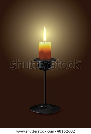 Candle in a candlestick lit in the dark - stock vector