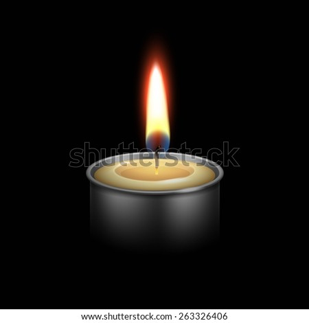 Candle in the Metal Candlestick Flame Fire Light. Realistic Vector Illustration Isolated on Black Background - stock vector