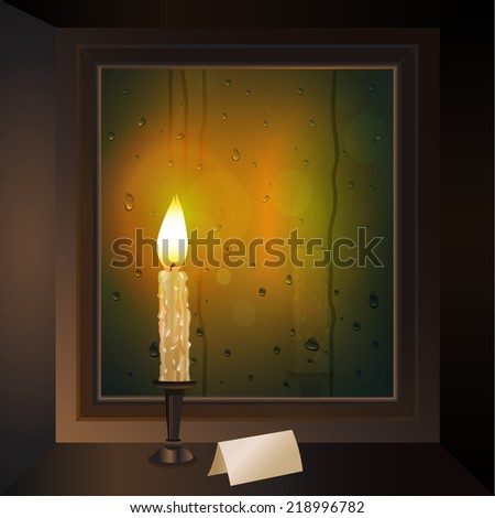 candle in the window - stock vector