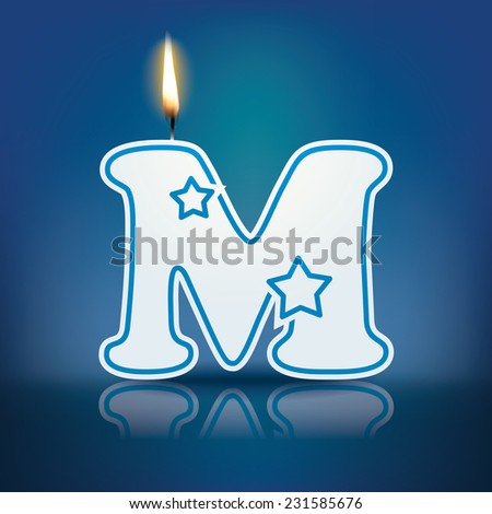 Candle letter M with flame - eps 10 vector illustration - stock vector