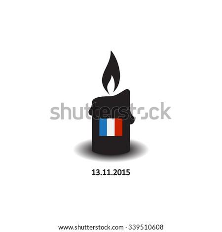 Candle Sorrow Paris France Friday November Symbol Stock Vector 2018