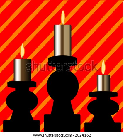 candles with stripe behind - stock vector