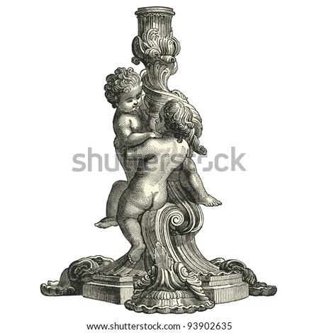 """Candlestick eighteenth century style  - vintage engraved illustration - """"L'industrie et l'art décoratif aux deux derniers siècles"""" ed. Firmin-Didot - Paris - stock vector"""