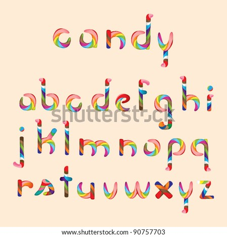 Candy alphabet - stock vector