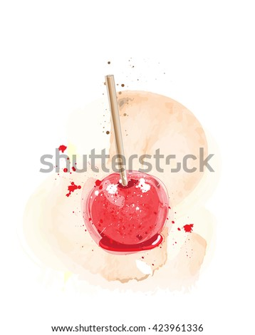 Candy apples watercolour effect. EPS10 vector format - stock vector