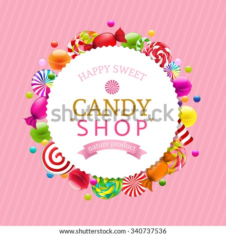 Candy Background With Gradient Mesh, Vector Illustration - stock vector