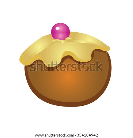 Candy Ball Shape Brown and Purple Cartoon Vector - stock vector