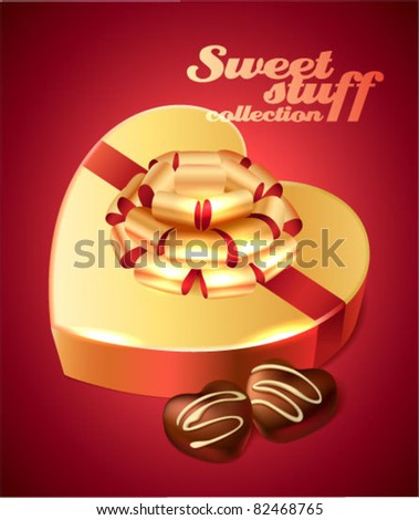Candy box and chocolate sweets - stock vector
