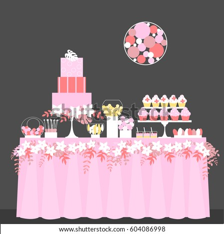 Candy buffet cake cupcakes wedding dessert stock vector 2018 candy buffet with cake and cupcakes wedding dessert bar birthday sweet table vector watchthetrailerfo