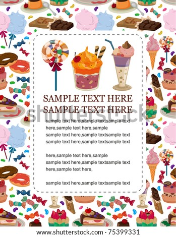 candy cake card - stock vector