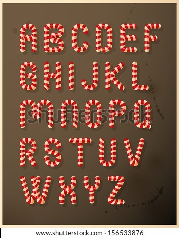 Candy cane alphabet - stock vector