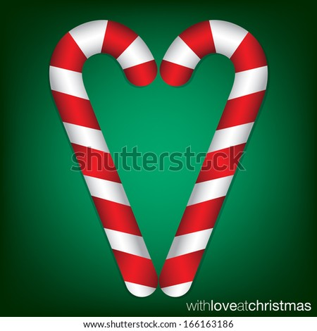 Candy cane Christmas card in vector format. - stock vector