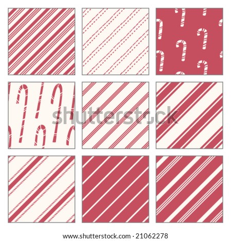 Candy Cane Patterns - stock vector