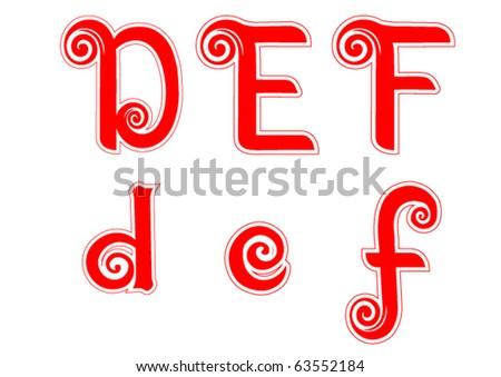 Candy Cane Swirl Letters D d E e F f - stock vector