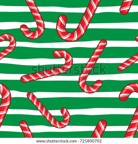 candy cane vector christmas seamless pattern