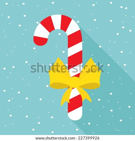 Candy cane with ribbon. Christmas flat icon design. - stock vector