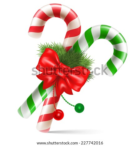 Candy canes with christmas decoration, winter holidays symbol. Vector illustration. Isolated on white background. - stock vector