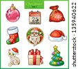 Candy cartoon icons set for Christmas and New Year. Santa Claus, sock, gift with red bow, Christmas tree with toys, etc - stock photo