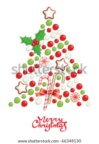 Candy christmas tree with greeting inscription - stock vector