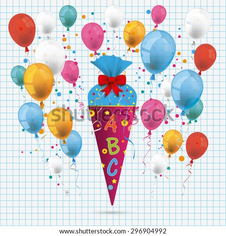 Candy cone with ABC and balloons on the checked paper background. Eps 10 vector file. - stock vector