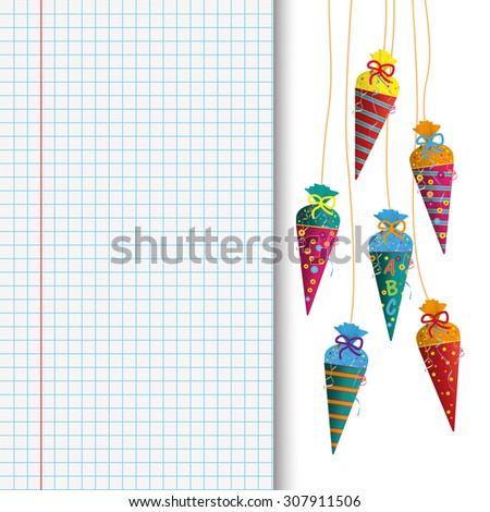 Candy cones with ABC on the checked paper and pencil. Eps 10 vector file. - stock vector