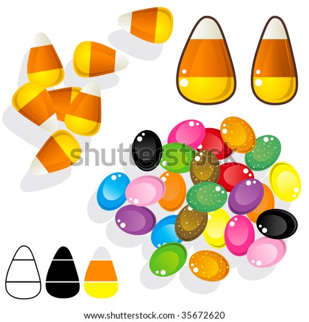 Candy corn and jelly beans.  Vector set includes various angles, silhouettes, and close-ups. - stock vector