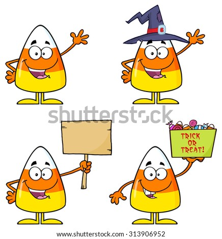 Candy Corn Cartoon Character 2. Vector Collection Set - stock vector