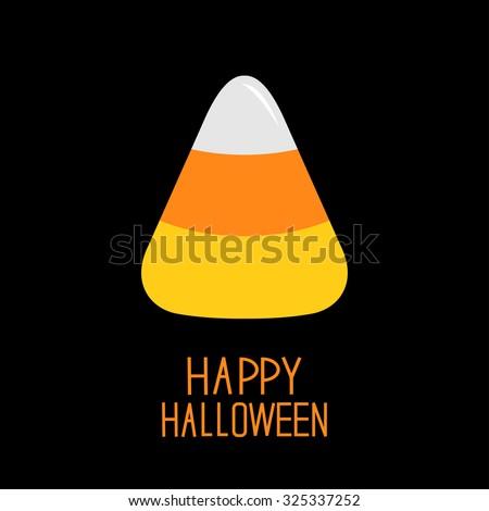 Candy corn. Happy Halloween card. Flat design.  Vector illustration - stock vector