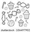 candy & cupcakes theme - stock vector