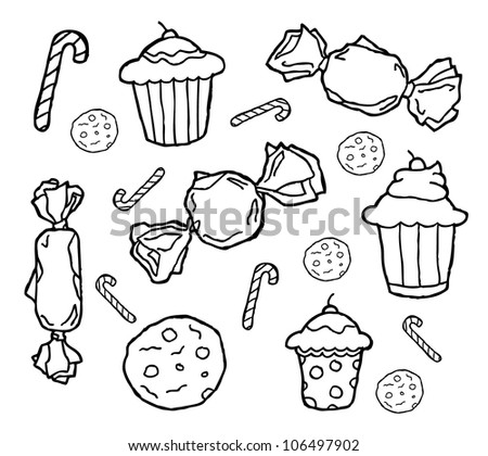candy & cupcakes theme - stock vector