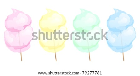 Candy floss in four different colours isolated on white. EPS10 vector format. - stock vector