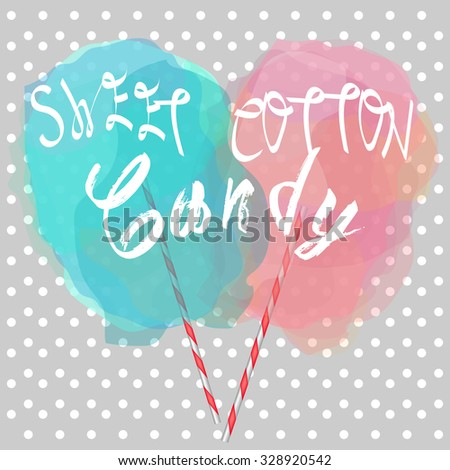 candy-floss with sugar and love  - stock vector