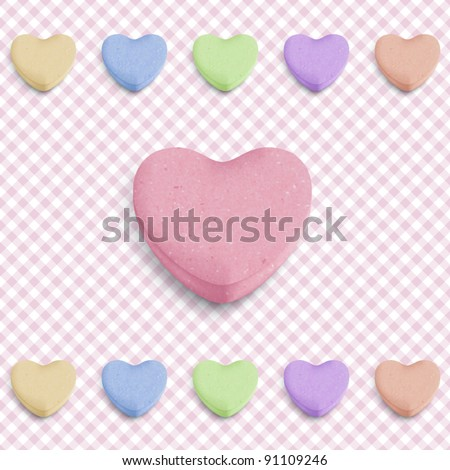 Candy heart background for new girl born announcement - stock vector
