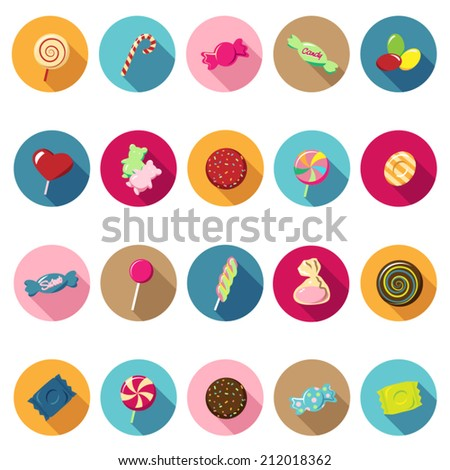 Candy icons set in flat design with long shadow. Illustration EPS10 - stock vector
